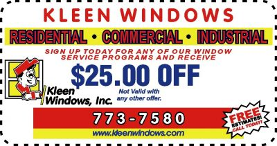 coupon for Kleen windows company