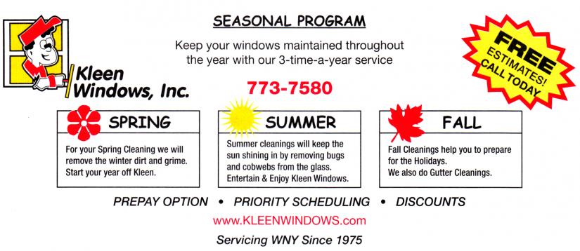 seasonal program ad for Kleen Windows